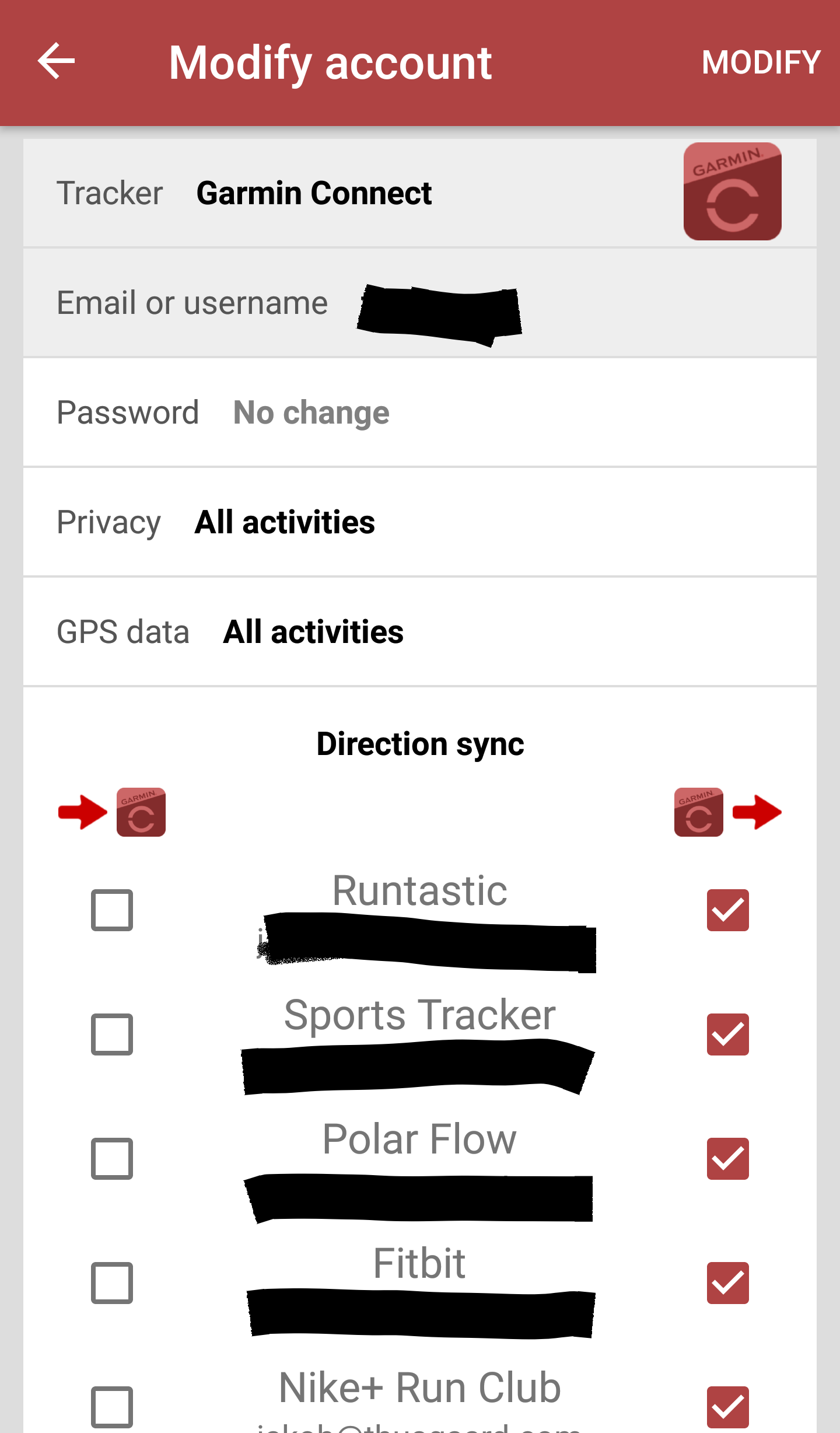 SyncMyTracks sync directions